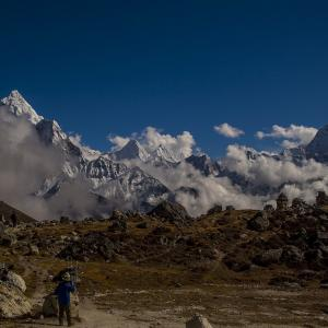 Ama Dablam standing tall - seen on the left.