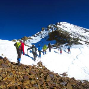 From the shoulder towards the summit of Stok Kangri.