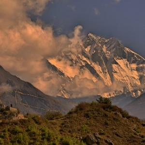 First Views of Everest and Nuptse Peaks from Namche.