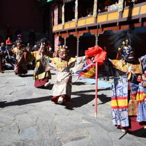 Festivities at the Tengboche monastery.