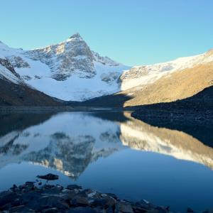 Huge glacial lake which feeds off the Thamsar glacier