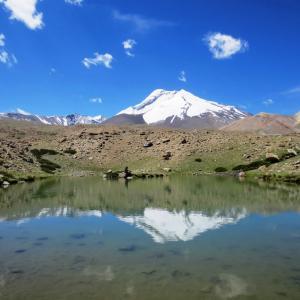 Beautiful lake above Thachungtse with reflections of Kang Yatse massif.